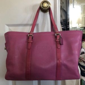 Pink Coach leather tote